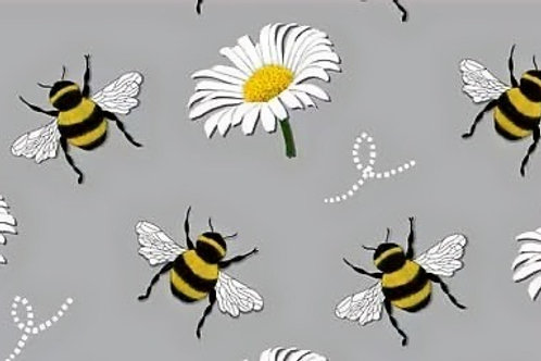 Organic Cotton Jersey - Bee And Daisy Print - Grey And Multi