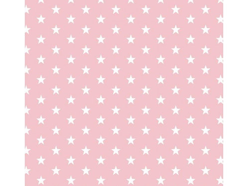 100% Cotton - Star Print - Pale Pink And White