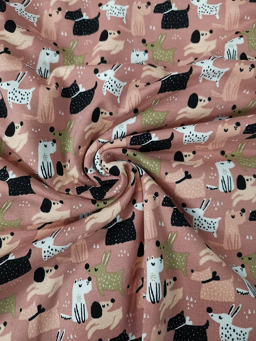Cotton Jersey - Dog Print - Pale Pink And Multi