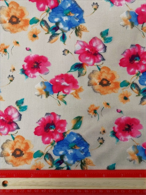 Dress Fabrics - Heavy Woven Stretch Cotton - Cream And Floral - OC100/159