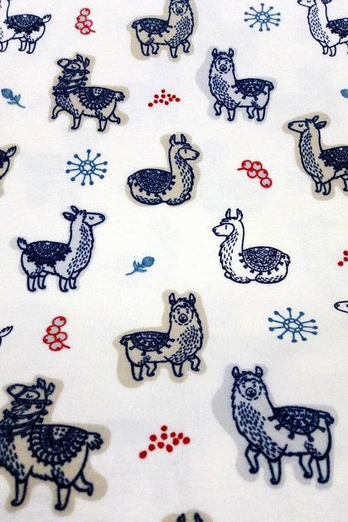Cotton Jersey - Llama Print - Ivory And Navy - OC 100/...