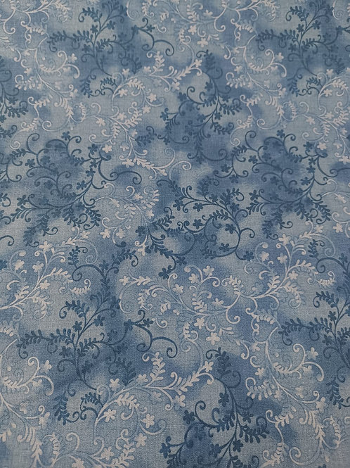 Quilting Cotton - Vine Leaf Print - Blue