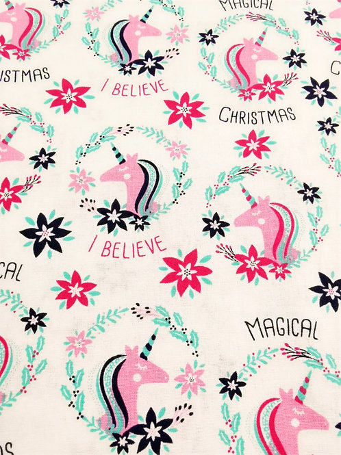 Quilting Cotton - Christmas Unicorn Print - Ivory And Multi