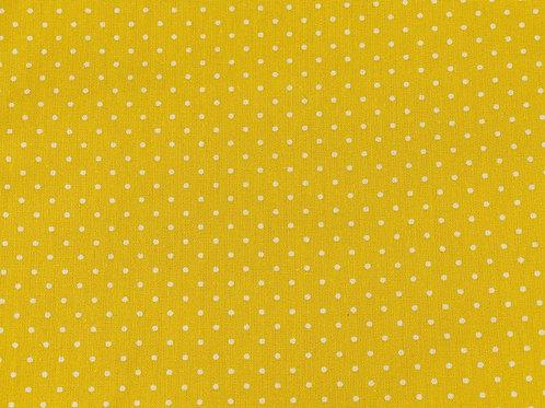 100% Cotton- Pinspot Print - Sunshine Yellow And White
