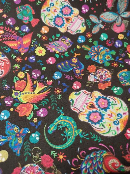 100% Cotton - Skull Print - Black And Multi