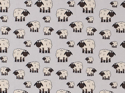 Cotton Jersey - Sheep Print - Pale Grey And Multi
