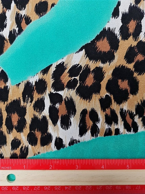 Dress Fabrics -  Stretch Silk - Abstract Leopard Print And Turquoise  - 100/145