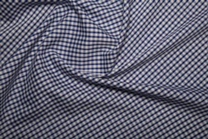 Poly Cotton - Gingham Print - Navy And White