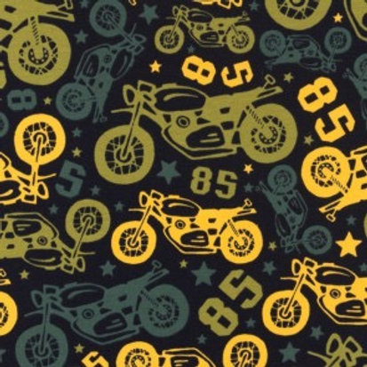 Cotton Jersey - Motorcycle Print - Black And Multi