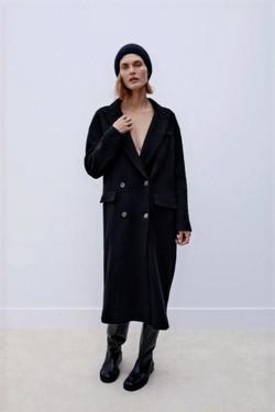 ZARA Black Double Breasted Coat