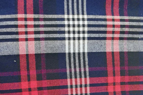Dress Fabric- 100% Cotton - Tartan Check - Navy, Red And Multi