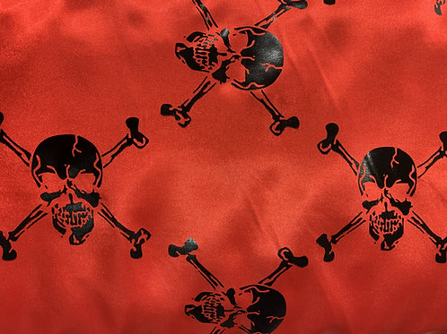 Polyester Satin - Skull Print - Red And Multi - Halloween