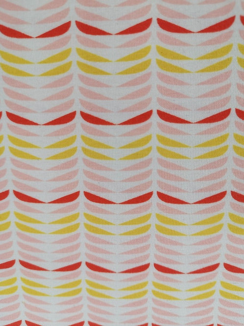 Cotton Jersey - Abstract Leaf Print - White, Pale Pink, Red And Yellow
