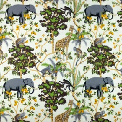 Cotton Jersey - Elephant Print - Cream And Multi