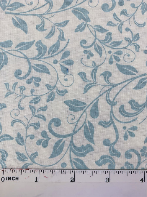 Quilting Cotton - John Louden - Ivory and Aqua