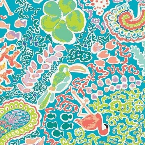Quilting Cotton - Art Gallery Fabrics - Bird Print - Blue, Green And Multi