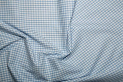 Poly Cotton - Gingham Print - Pale Blue And White