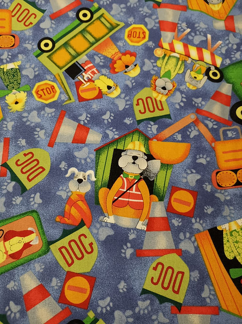 Construction dogs by nutex. Quilting Cotton  -  - Blue And Multi