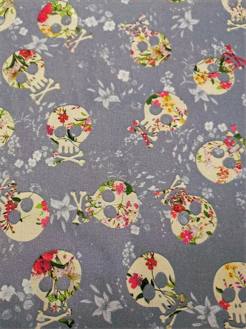 100% Cotton -  Skull Print - Pale Grey And Floral