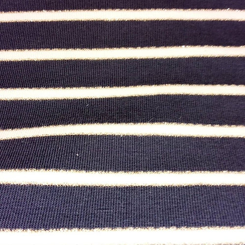 French Terry Loop Back Fabric - Glitter Striped - Navy & Gold