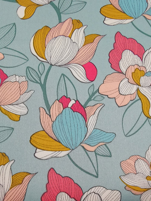 Dress Fabrics - Cotton Sateen - Floral Print - Pale Green And Multi