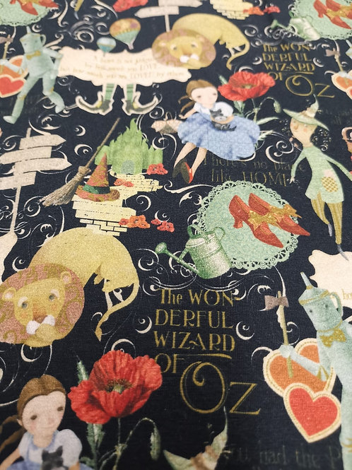 Cotton Jersey - Wizard Of Oz Print - Navy And Multi