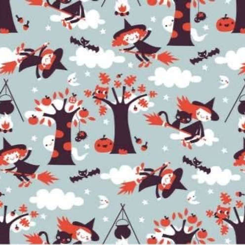 Lillestoff - Organic Cotton Jersey - Witches Print - Pale Grey And Multi