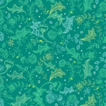 Quilting Cotton - Paisley Leaf Print - Green And Multi