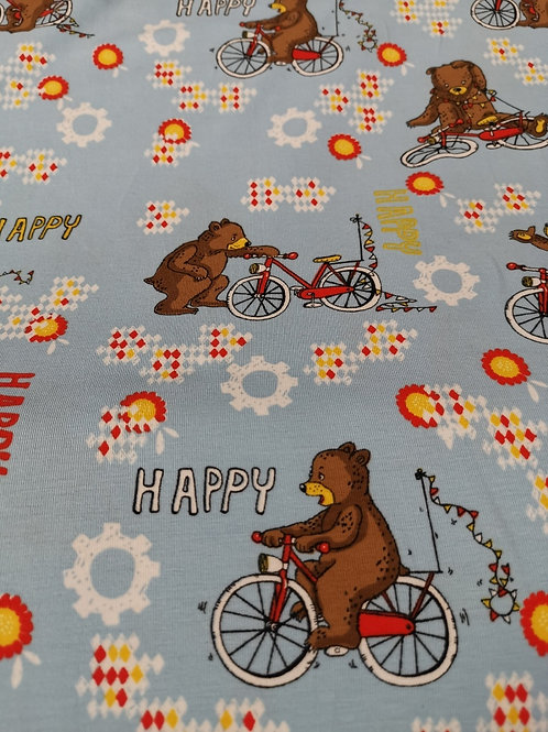 Lillestoff Organic Cotton Jersey - Happy Bears On Bikes  - Pale Grey And Brown