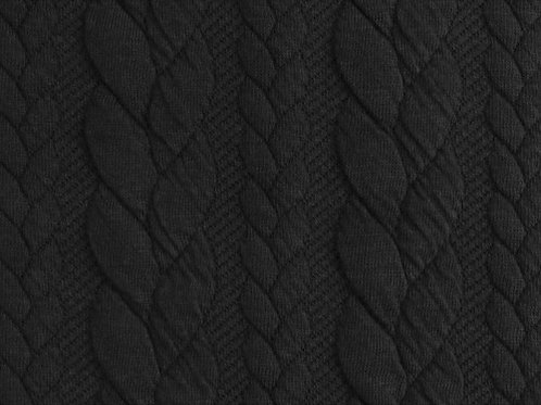 Dress Fabric - Cable Knit Jacquard Fabric - Black