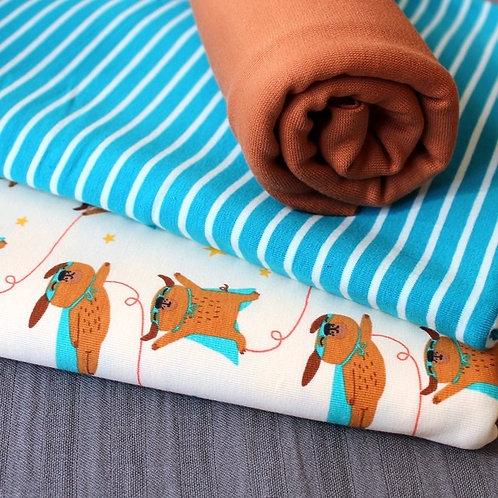 Stoffenkell - Organic Cotton Jersey Bundles - Super Hero Dog and Stripe