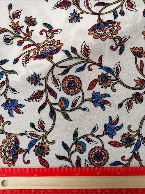 Dress Fabrics -  Heavy Chiffon - Ivory With Blue And Pink Plant Print  - 100/146