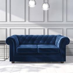 Navy Blue Velvet Sofa - Buy It Direct