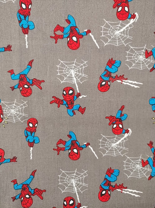 Quilting Cotton - Spider Man Print - Pale Grey And Multi