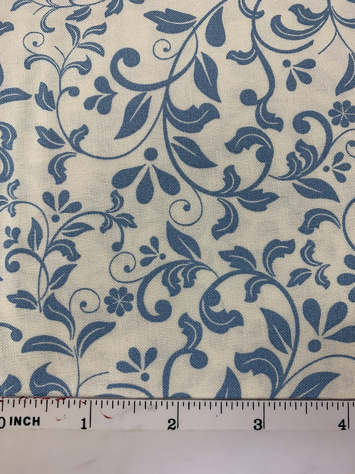 Quilting Cotton - John Louden - Ivory and Blue