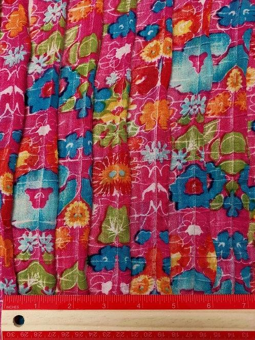 Dress Fabrics - Ruffled Stretch Polyester - Pink Mix - 100/126