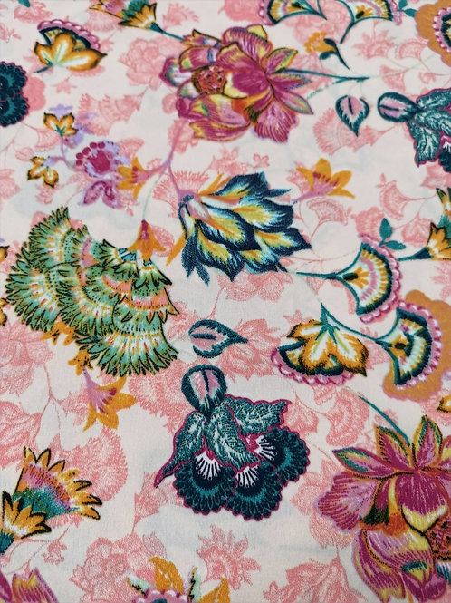 Dress Fabric -  Polyester - Floral Print - Pink And Multi