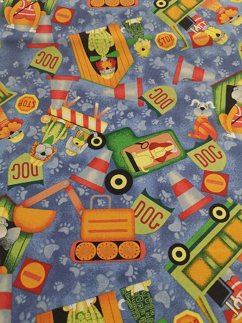 Quilting Cotton - Nutex - 61810 - JCB and Dog Print - 101 - Blue And Multi