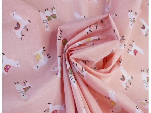 Dress Fabrics - Polycotton - Llama Print - Pale Pink And Multi