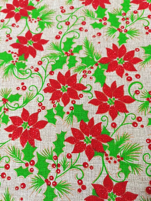 Decor -  Polyester - Christmas Plant Print - White And Multi