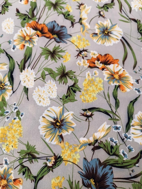 Dress Fabric -  Polyester - Floral Print - Stone And Multi