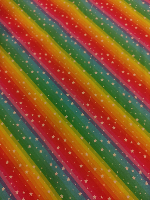 Quilting Cotton- Rainbow Stripe Print With Small Stars- Multicoloured