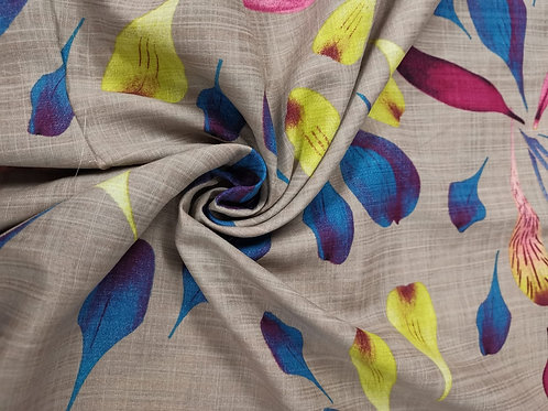 Dress Fabric - Linen Look Cotton Mix - Abstract Floral Print - Multi