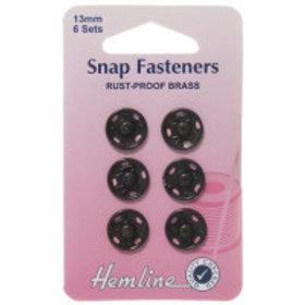 Brass Snap Fasteners - 13mm - 6 Sets-black