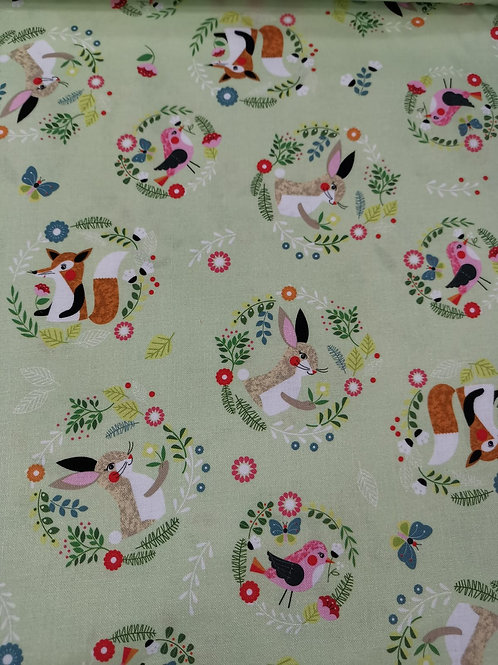 Willow circles cotton by nutex - Bunny & Fox Print - Pale Green And Multi