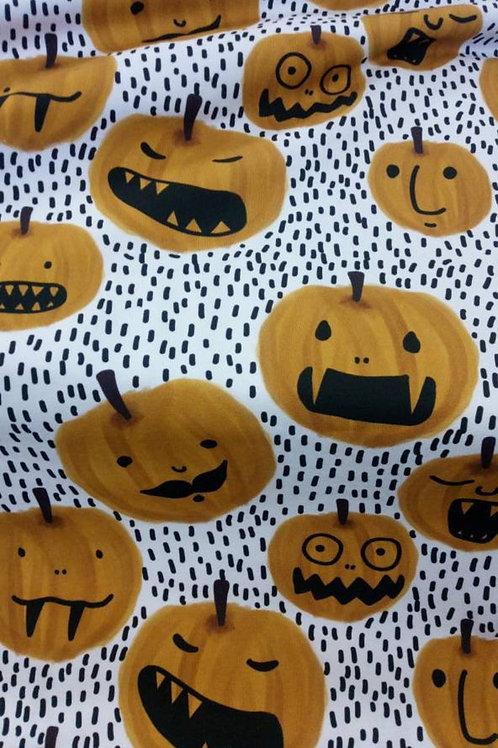 Lillestoff - Organic Cotton Jersey - Pumpkin Print - Halloween - White And Multi