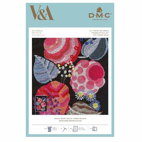 Cross Stitch Kit -  DMC - V And , Deco Rose Motif - Edouard Benedictus