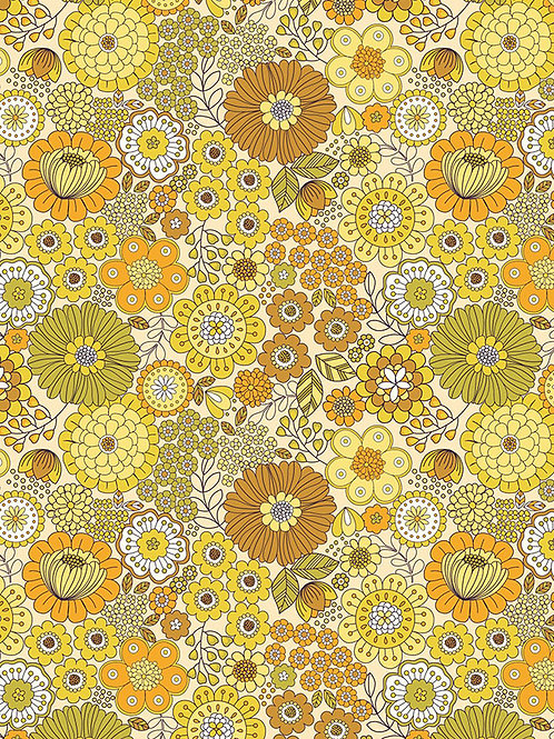 Lewis And Irene - Flower Child - Far out florals - Yellow - A435.1