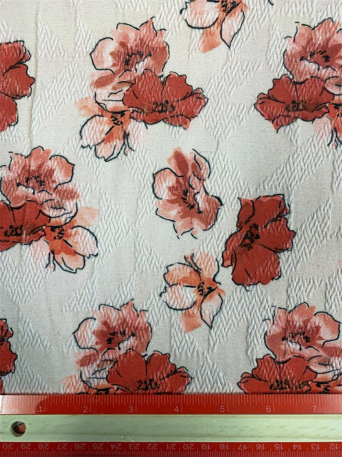 Dress Fabrics - Cotton Mix - Red Floral - OC100/093