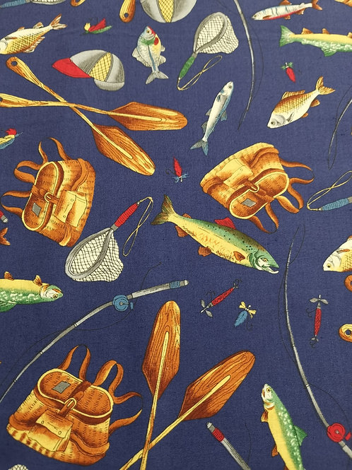 REMNANT - Quilting Cotton - Fishing Print - 1.5 Meters